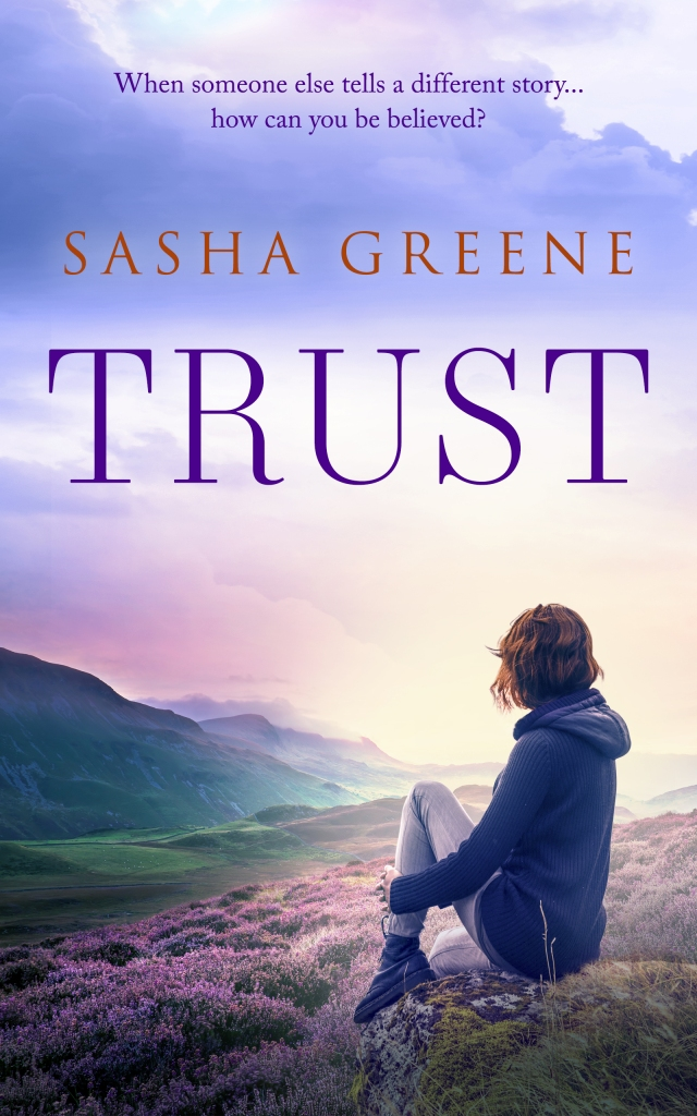 """The cover of the book called Trust. The book cover has a beautiful Scottish landscape in the background. It looks very atmospheric in blues and purples. A skinny young woman sits in the foreground on a rock, face turned away, looking at the view. Her body language makes her look pensive, although you can't see her face. She has a short auburn bob, a blue hoodie, jeans, and DM-style shoes. The title of the book reads """"Trust"""" in dark purple capital letters near the top of the cover, with the author name """"Sasha Greene"""" in dark orange capitals above it."""